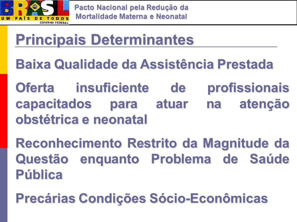 Principais Determinantes Baixa Qualidade da Assistência Prestada Oferta insuficiente de profissionais capacitados para atuar na atenção obstétrica e n