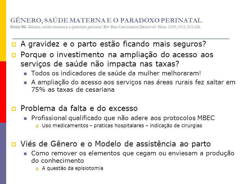 GÊNERO, SAÚDE MATERNA E O PARADOXO PERINATAL Diniz SG. Gênero, saúde materna e o paradoxo perinatal. Rev Bras Crescimento Desenvolv Hum. 2009; 19(2):3