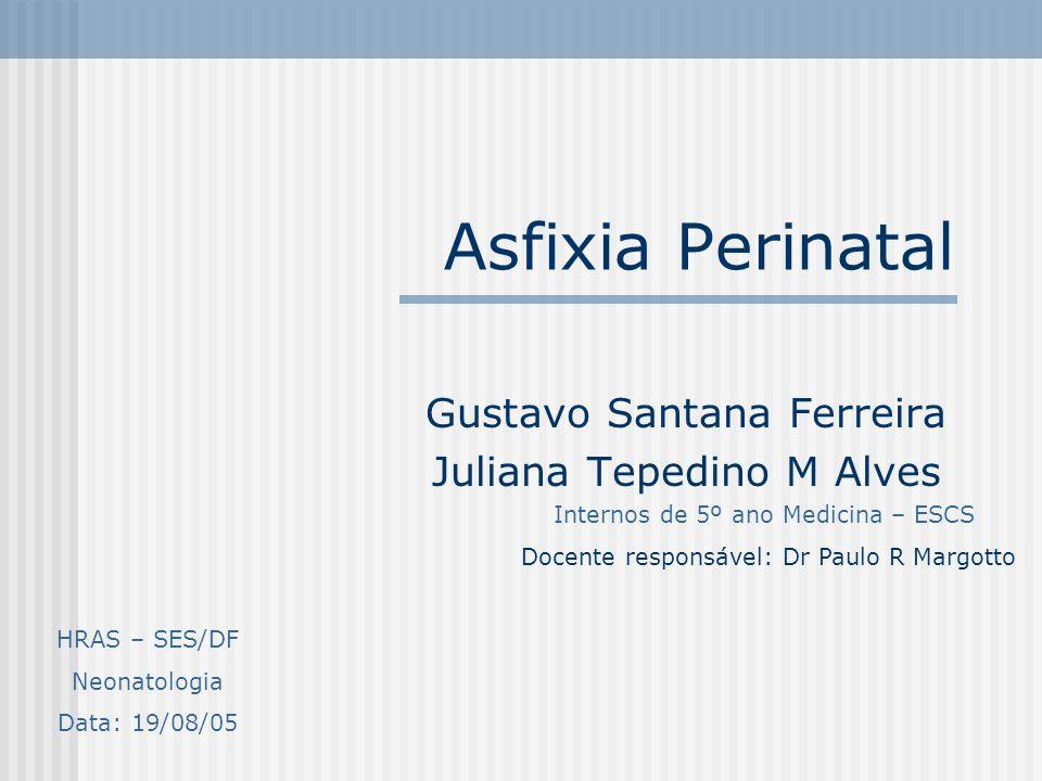 Asfixia Perinatal Gustavo Santana Ferreira Juliana Tepedino M Alves Internos de 5º ano Medicina – ESCS Docente responsável: Dr Paulo R Margotto HRAS –