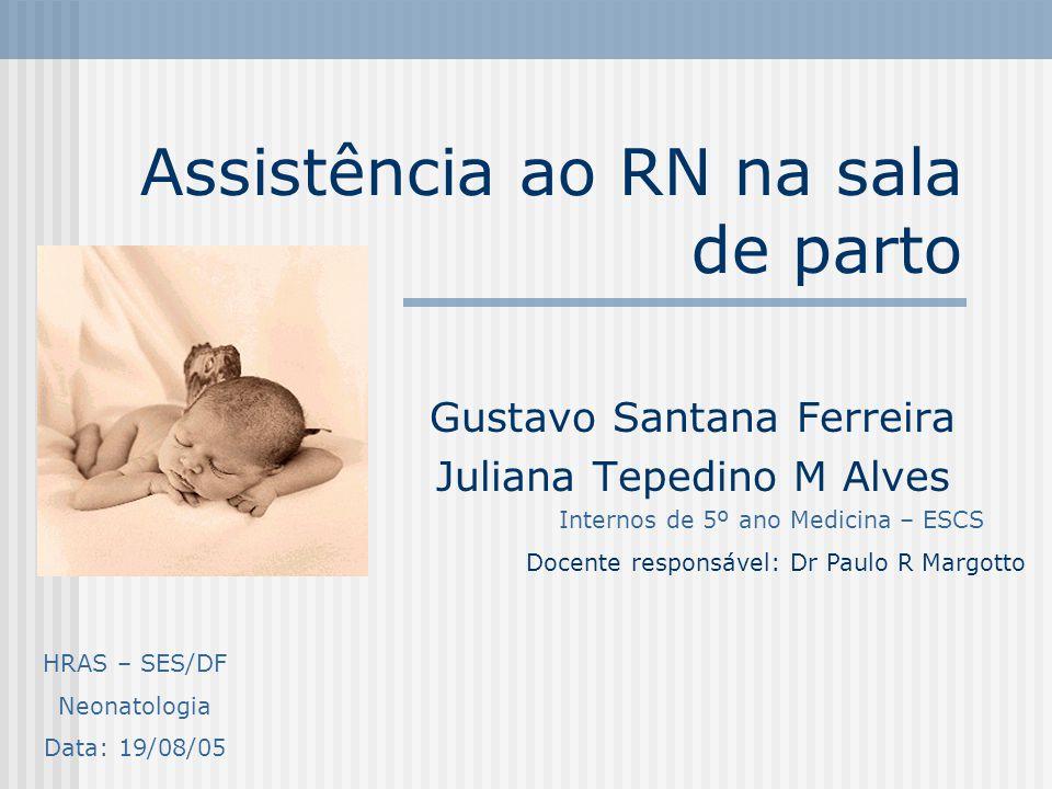 Assistência ao RN na sala de parto Gustavo Santana Ferreira Juliana Tepedino M Alves Internos de 5º ano Medicina – ESCS Docente responsável: Dr Paulo