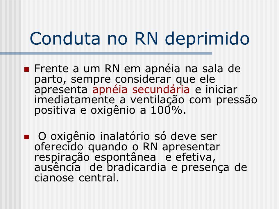 Conduta no RN deprimido Frente a um RN em apnéia na sala de parto, sempre considerar que ele apresenta apnéia secundária e iniciar imediatamente a ven