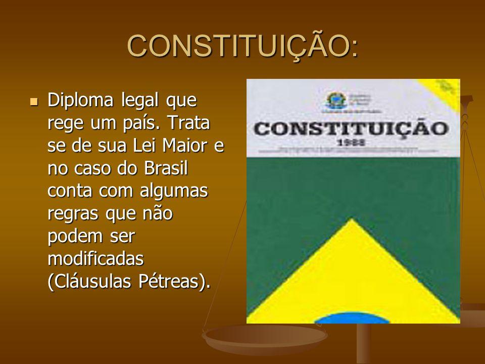 CONSTITUIÇÃO: Diploma legal que rege um país.