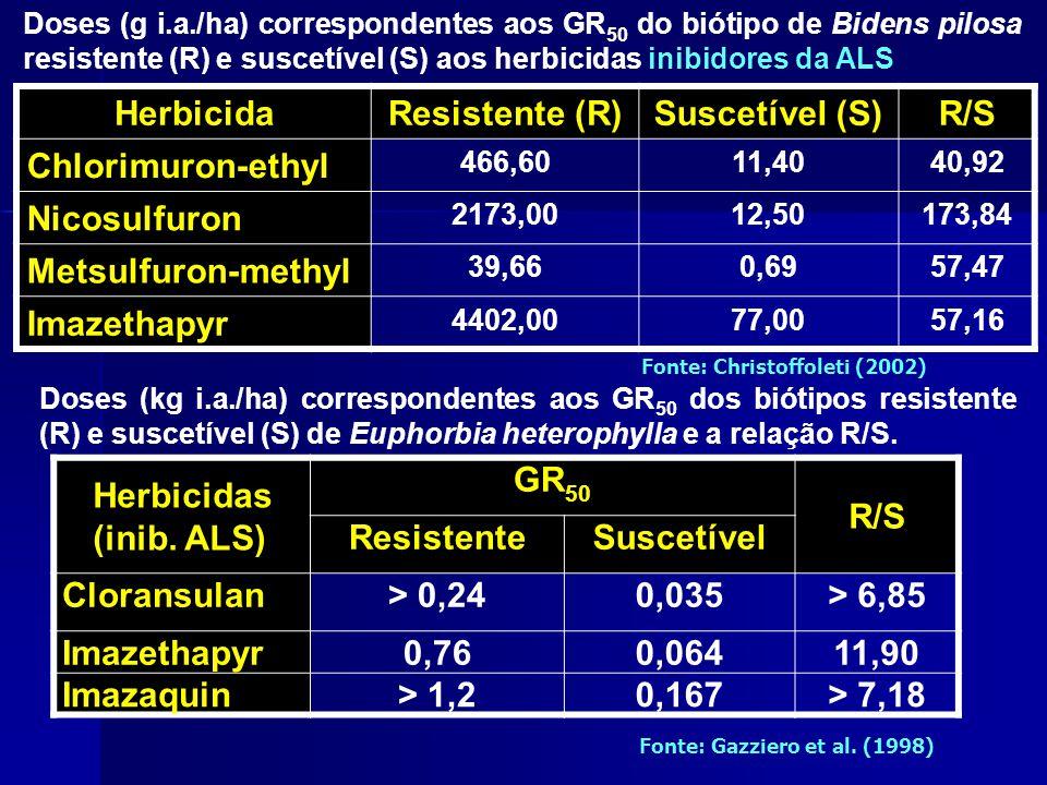 Doses (g i.a./ha) correspondentes aos GR 50 do biótipo de Bidens pilosa resistente (R) e suscetível (S) aos herbicidas inibidores da ALS Herbicida Res