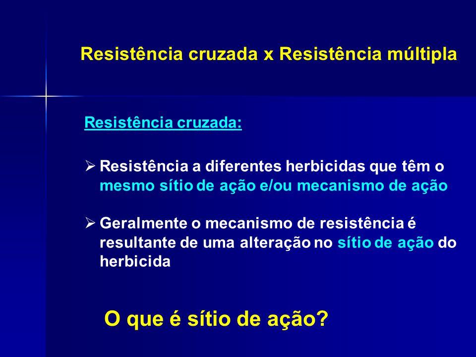 Resistência cruzada: Resistência cruzada x Resistência múltipla O que é sítio de ação?  Resistência a diferentes herbicidas que têm o mesmo sítio de