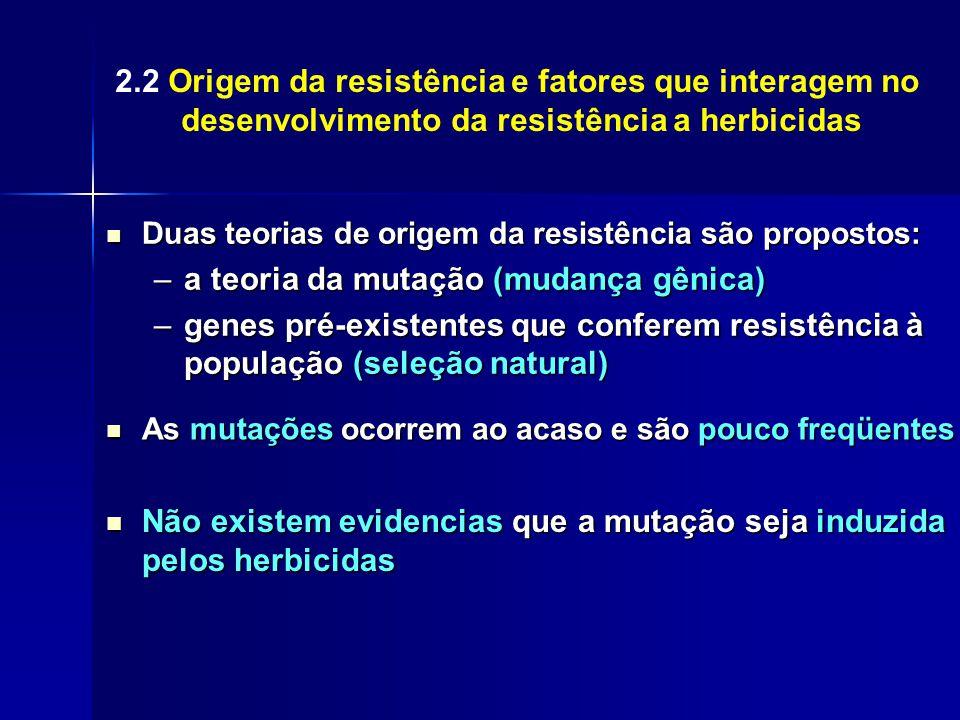 2.2 Origem da resistência e fatores que interagem no desenvolvimento da resistência a herbicidas Duas teorias de origem da resistência são propostos: