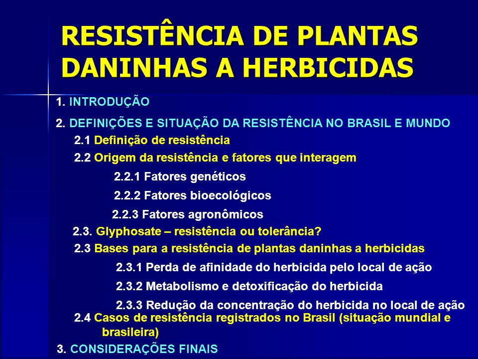 RESISTÊNCIA DE PLANTAS DANINHAS A HERBICIDAS 1. INTRODUÇÃO 2. DEFINIÇÕES E SITUAÇÃO DA RESISTÊNCIA NO BRASIL E MUNDO 2.1 Definição de resistência 2.2