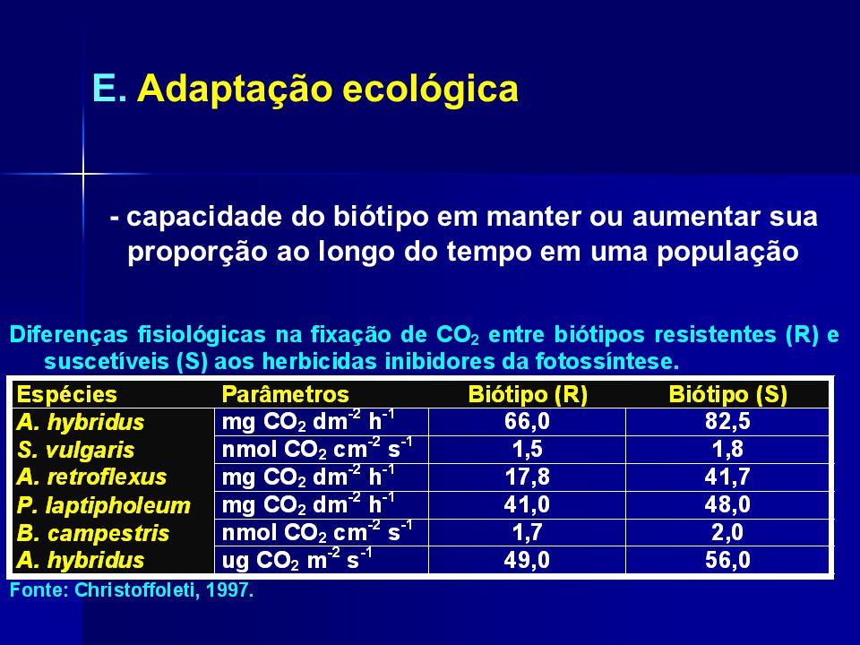 E. Adaptação ecológica - capacidade do biótipo em manter ou aumentar sua proporção ao longo do tempo em uma população