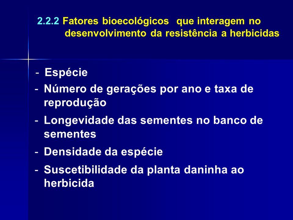 2.2.2 Fatores bioecológicos que interagem no desenvolvimento da resistência a herbicidas -Espécie -Número de gerações por ano e taxa de reprodução -Lo