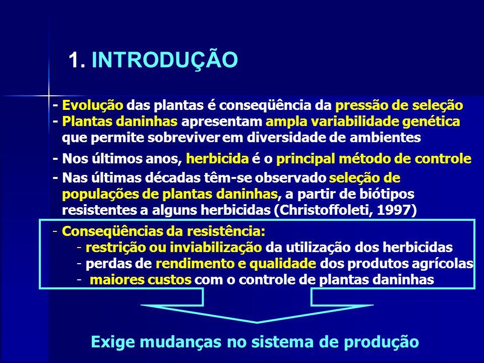 1. INTRODUÇÃO - Evolução das plantas é conseqüência da pressão de seleção - Plantas daninhas apresentam ampla variabilidade genética que permite sobre