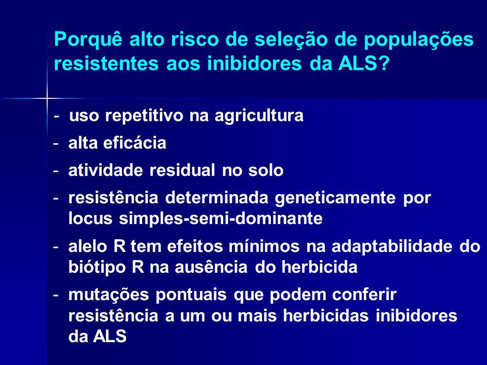 Porquê alto risco de seleção de populações resistentes aos inibidores da ALS? -uso repetitivo na agricultura -alta eficácia -atividade residual no sol