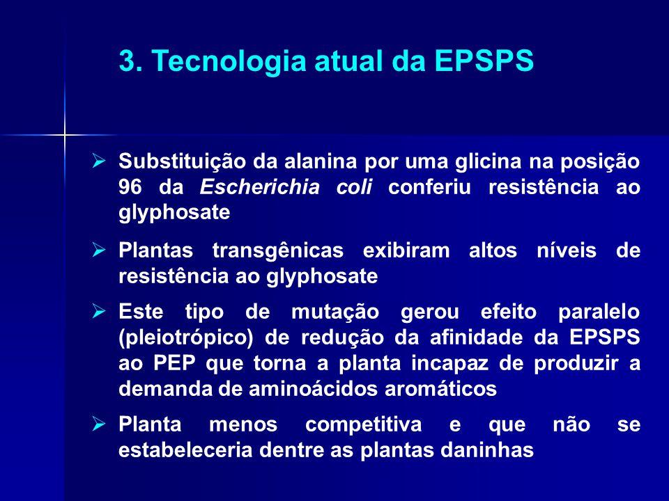 3. Tecnologia atual da EPSPS  Substituição da alanina por uma glicina na posição 96 da Escherichia coli conferiu resistência ao glyphosate  Plantas