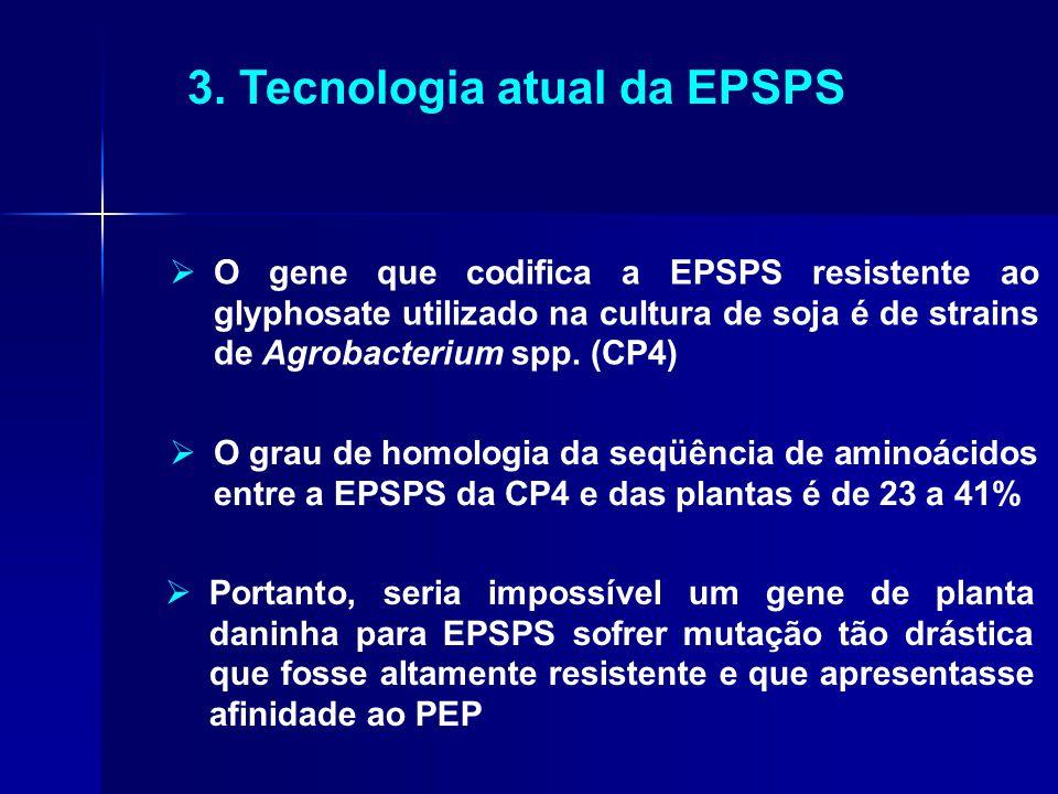 3. Tecnologia atual da EPSPS  O gene que codifica a EPSPS resistente ao glyphosate utilizado na cultura de soja é de strains de Agrobacterium spp. (C