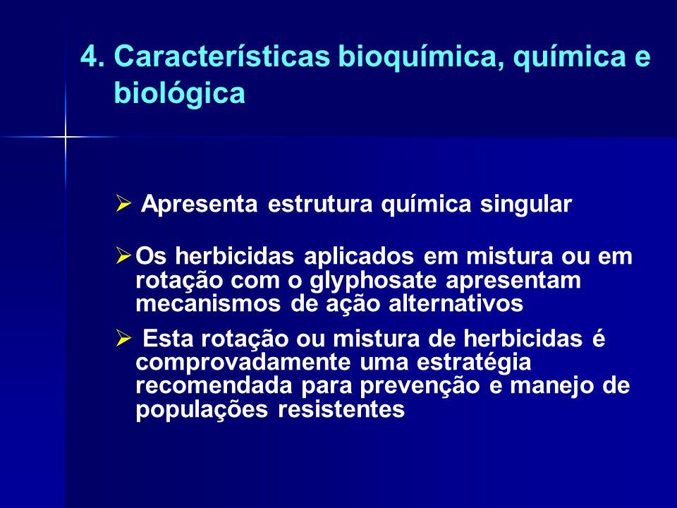 4. Características bioquímica, química e biológica  Apresenta estrutura química singular  Os herbicidas aplicados em mistura ou em rotação com o gly
