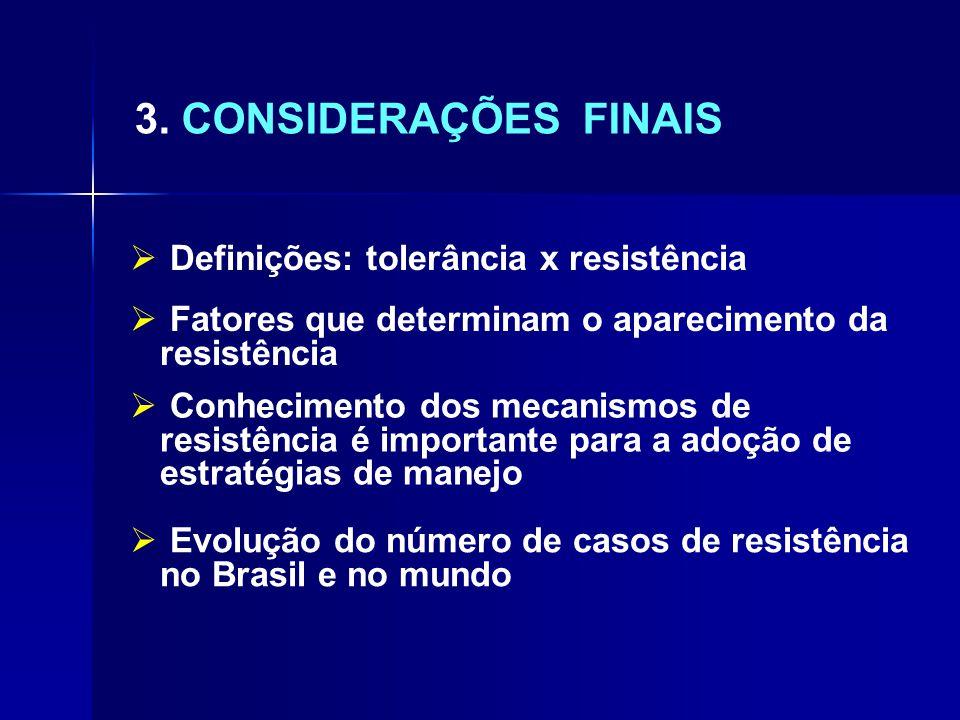 3. CONSIDERAÇÕES FINAIS  Definições: tolerância x resistência  Fatores que determinam o aparecimento da resistência  Conhecimento dos mecanismos de
