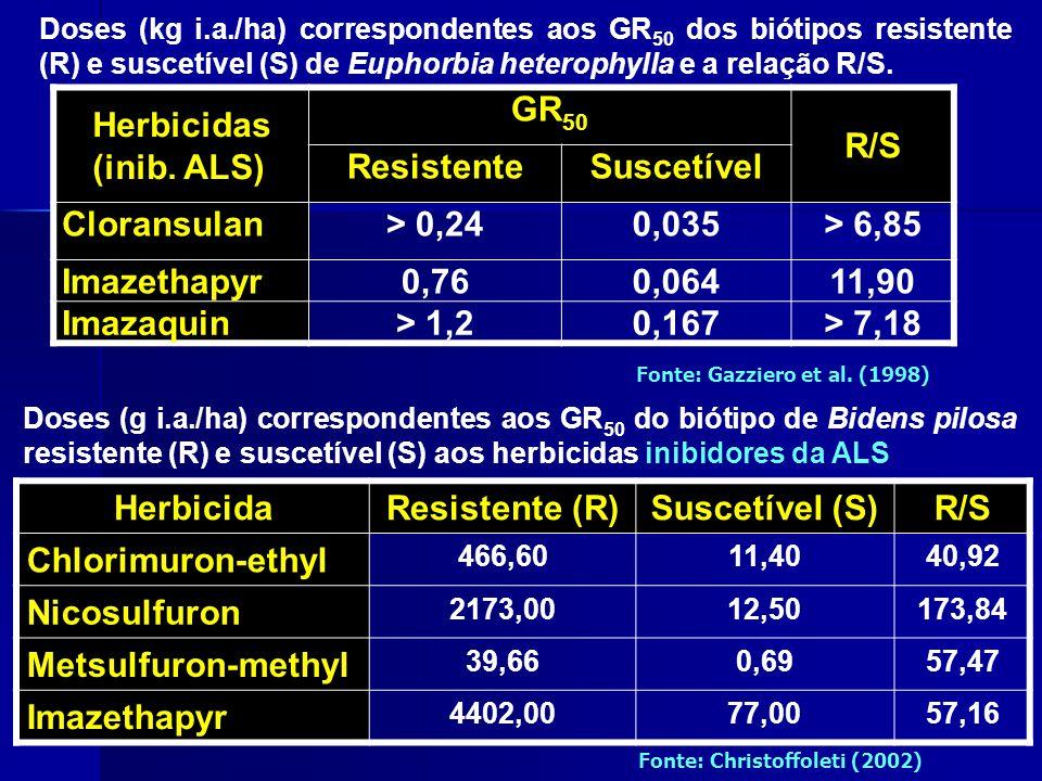 Doses (g i.a./ha) correspondentes aos GR 50 do biótipo de Bidens pilosa resistente (R) e suscetível (S) aos herbicidas inibidores da ALS Herbicida Resistente (R)Suscetível (S)R/S Chlorimuron-ethyl 466,6011,4040,92 Nicosulfuron 2173,0012,50173,84 Metsulfuron-methyl 39,660,6957,47 Imazethapyr 4402,0077,0057,16 Fonte: Christoffoleti (2002) Herbicidas (inib.