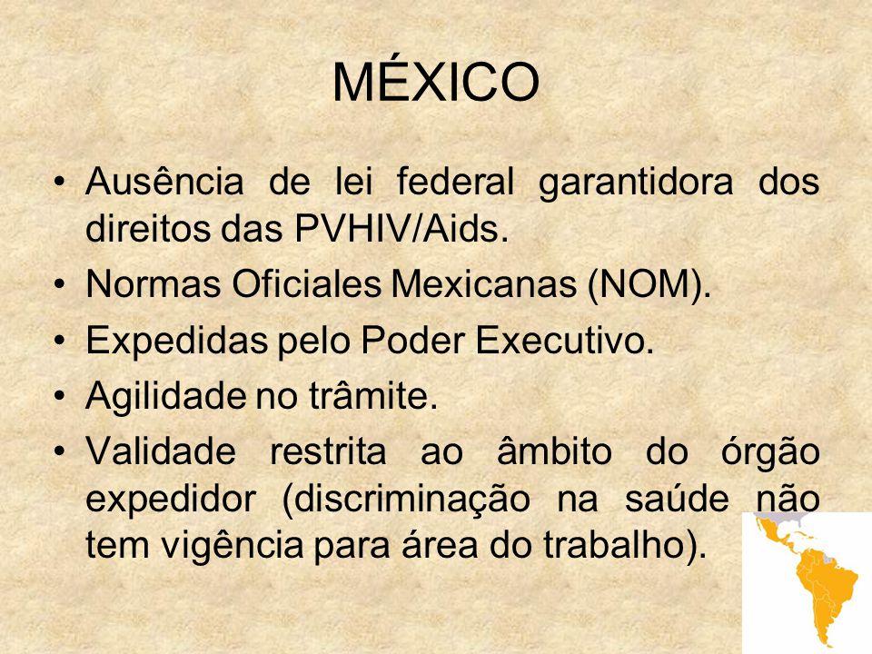 11 MÉXICO Ausência de lei federal garantidora dos direitos das PVHIV/Aids. Normas Oficiales Mexicanas (NOM). Expedidas pelo Poder Executivo. Agilidade