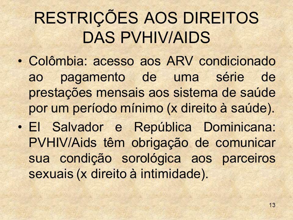 13 RESTRIÇÕES AOS DIREITOS DAS PVHIV/AIDS Colômbia: acesso aos ARV condicionado ao pagamento de uma série de prestações mensais aos sistema de saúde p