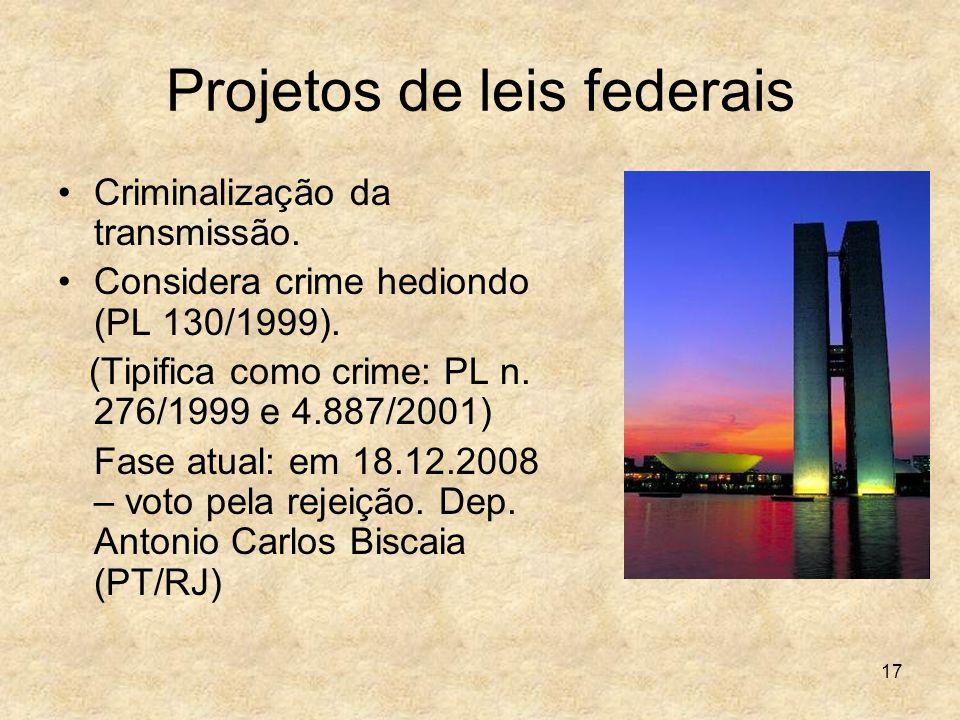 17 Projetos de leis federais Criminalização da transmissão. Considera crime hediondo (PL 130/1999). (Tipifica como crime: PL n. 276/1999 e 4.887/2001)