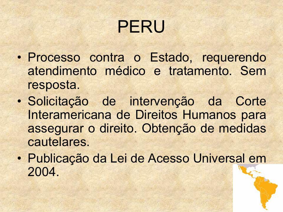 8 PERU Processo contra o Estado, requerendo atendimento médico e tratamento. Sem resposta. Solicitação de intervenção da Corte Interamericana de Direi