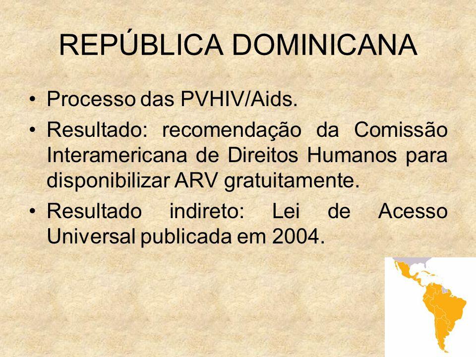 9 REPÚBLICA DOMINICANA Processo das PVHIV/Aids. Resultado: recomendação da Comissão Interamericana de Direitos Humanos para disponibilizar ARV gratuit