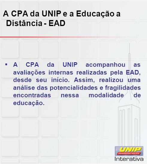 A CPA da UNIP e a Educação a Distância - EAD  A CPA da UNIP acompanhou as avaliações internas realizadas pela EAD, desde seu início.