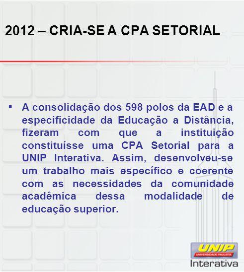  A consolidação dos 598 polos da EAD e a especificidade da Educação a Distância, fizeram com que a instituição constituísse uma CPA Setorial para a UNIP Interativa.
