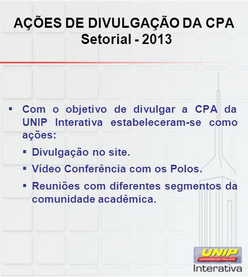 AÇÕES DE DIVULGAÇÃO DA CPA Setorial - 2013  Com o objetivo de divulgar a CPA da UNIP Interativa estabeleceram-se como ações:  Divulgação no site.