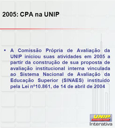 2005: CPA na UNIP  A Comissão Própria de Avaliação da UNIP iniciou suas atividades em 2005 a partir da construção de sua proposta de avaliação institucional interna vinculada ao Sistema Nacional de Avaliação da Educação Superior (SINAES) instituído pela Lei nº10.861, de 14 de abril de 2004