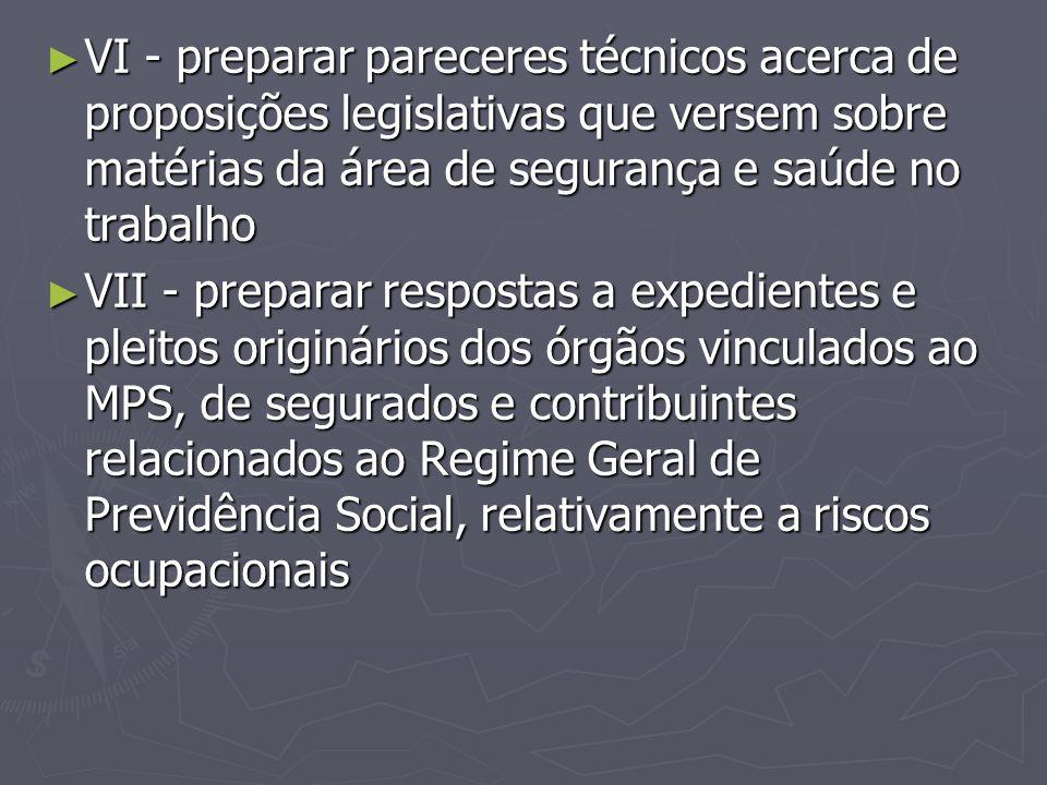 ► VI - preparar pareceres técnicos acerca de proposições legislativas que versem sobre matérias da área de segurança e saúde no trabalho ► VII - prepa