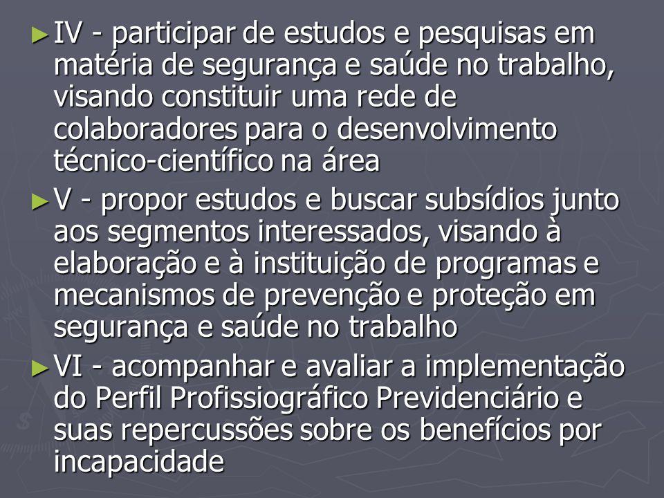 ► IV - participar de estudos e pesquisas em matéria de segurança e saúde no trabalho, visando constituir uma rede de colaboradores para o desenvolvime