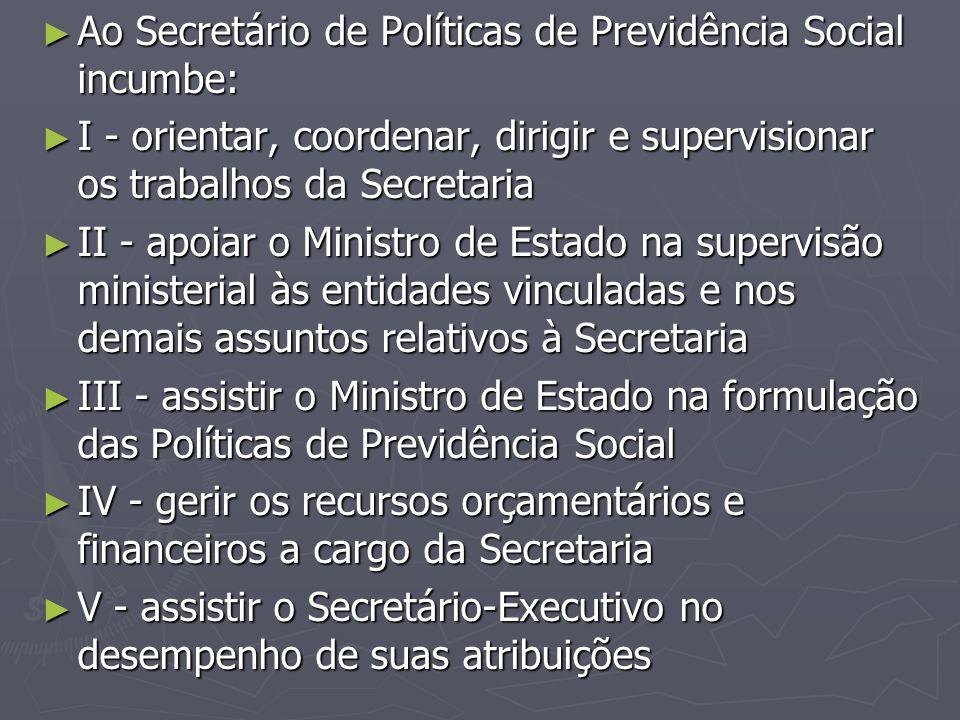 ► Ao Secretário de Políticas de Previdência Social incumbe: ► I - orientar, coordenar, dirigir e supervisionar os trabalhos da Secretaria ► II - apoia