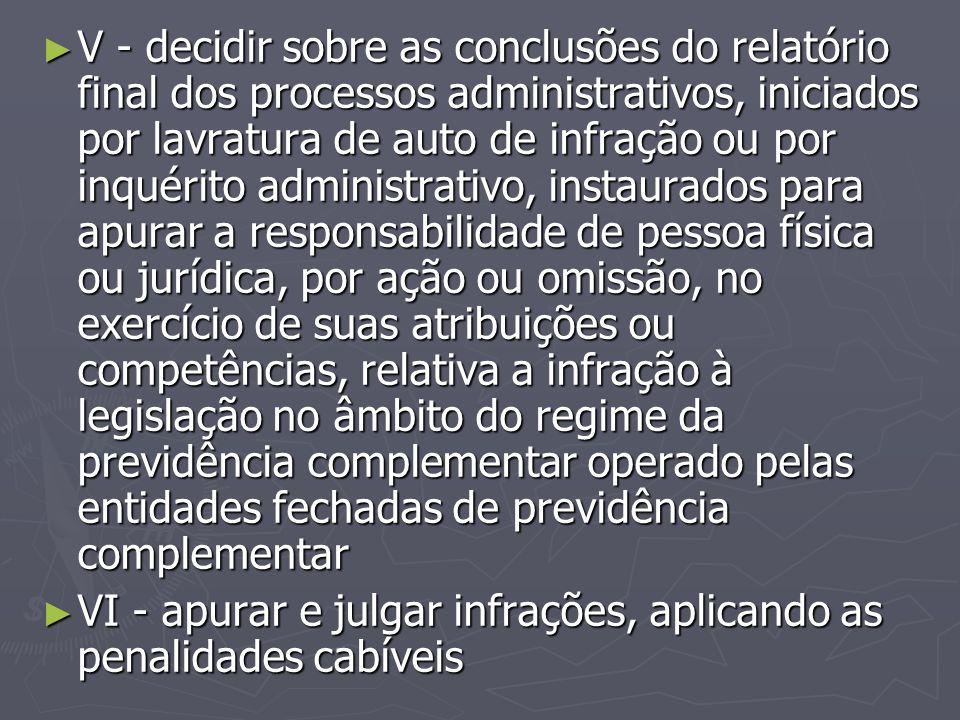 ► V - decidir sobre as conclusões do relatório final dos processos administrativos, iniciados por lavratura de auto de infração ou por inquérito admin