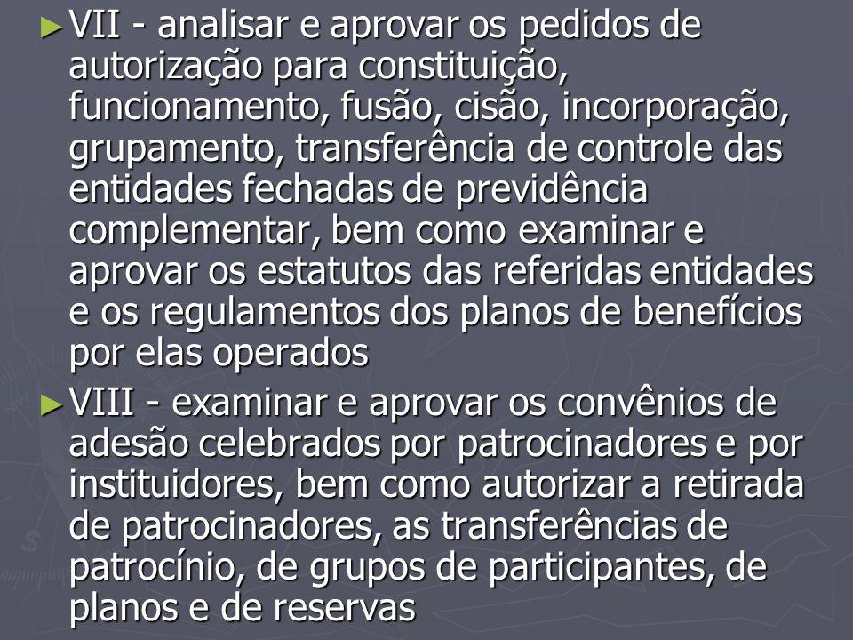 ► VII - analisar e aprovar os pedidos de autorização para constituição, funcionamento, fusão, cisão, incorporação, grupamento, transferência de contro