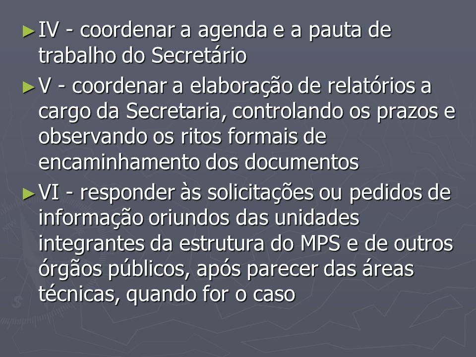 ► IV - coordenar a agenda e a pauta de trabalho do Secretário ► V - coordenar a elaboração de relatórios a cargo da Secretaria, controlando os prazos