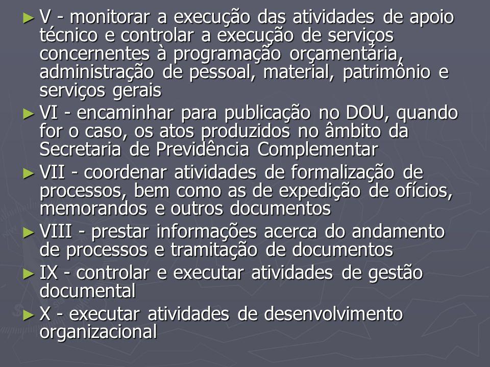 ► V - monitorar a execução das atividades de apoio técnico e controlar a execução de serviços concernentes à programação orçamentária, administração d