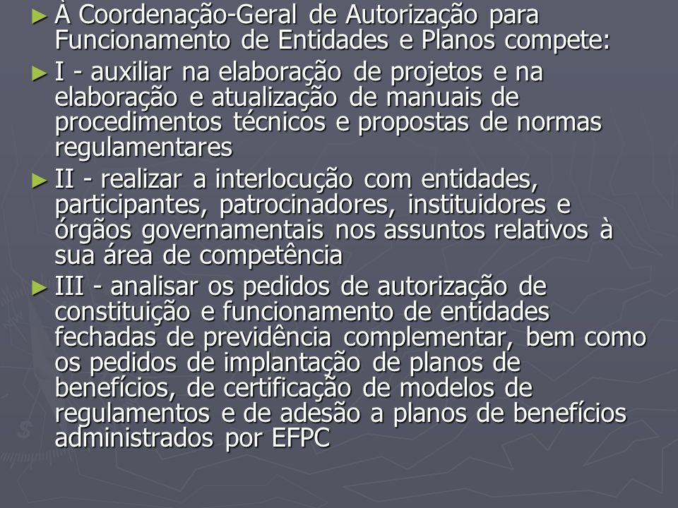 ► À Coordenação-Geral de Autorização para Funcionamento de Entidades e Planos compete: ► I - auxiliar na elaboração de projetos e na elaboração e atua