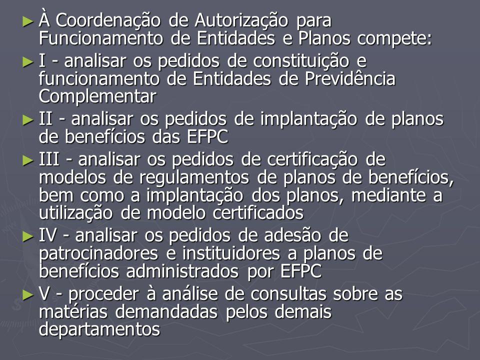 ► À Coordenação de Autorização para Funcionamento de Entidades e Planos compete: ► I - analisar os pedidos de constituição e funcionamento de Entidade