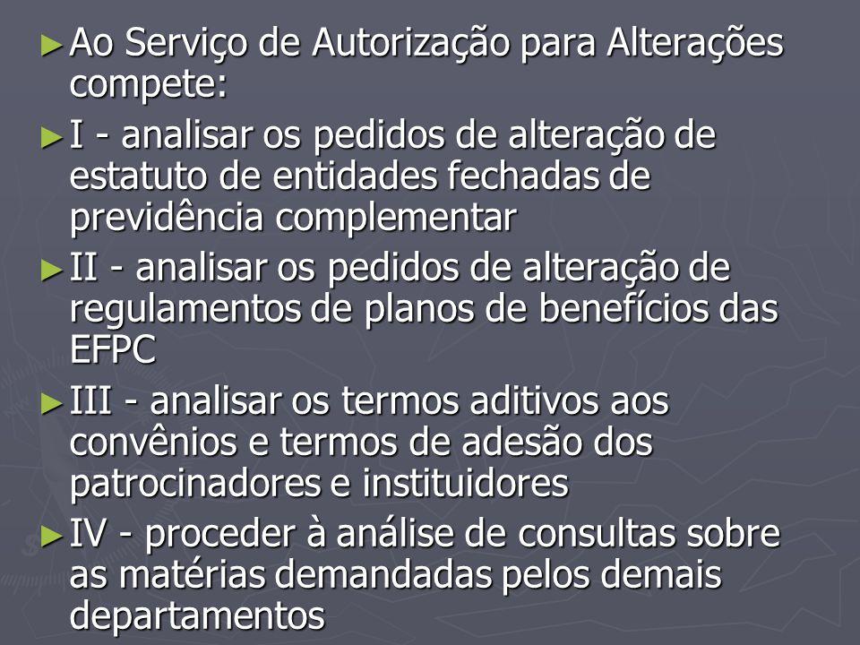 ► Ao Serviço de Autorização para Alterações compete: ► I - analisar os pedidos de alteração de estatuto de entidades fechadas de previdência complemen