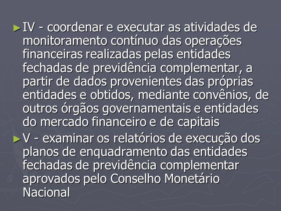 ► IV - coordenar e executar as atividades de monitoramento contínuo das operações financeiras realizadas pelas entidades fechadas de previdência compl