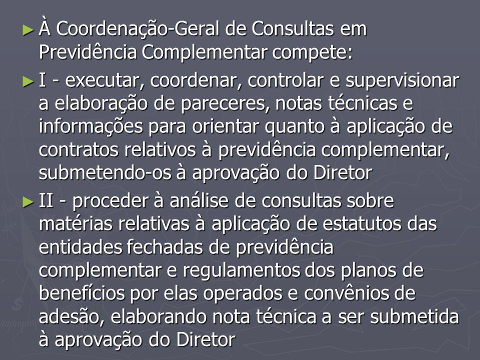 ► À Coordenação-Geral de Consultas em Previdência Complementar compete: ► I - executar, coordenar, controlar e supervisionar a elaboração de pareceres