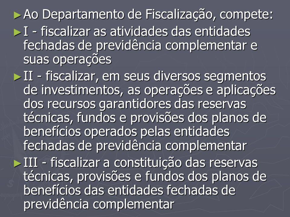 ► Ao Departamento de Fiscalização, compete: ► I - fiscalizar as atividades das entidades fechadas de previdência complementar e suas operações ► II -