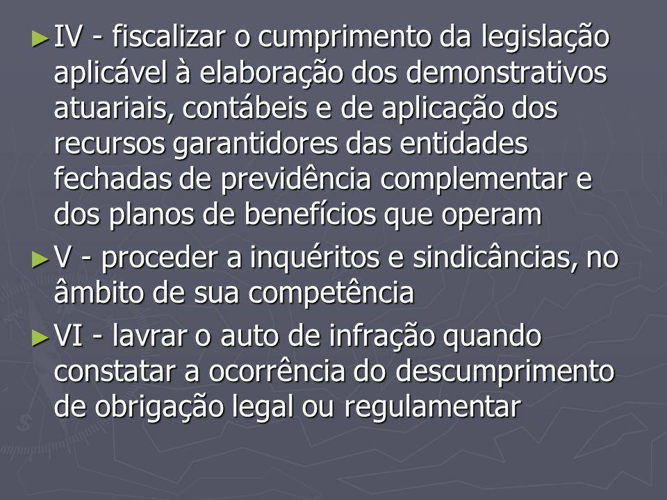 ► IV - fiscalizar o cumprimento da legislação aplicável à elaboração dos demonstrativos atuariais, contábeis e de aplicação dos recursos garantidores