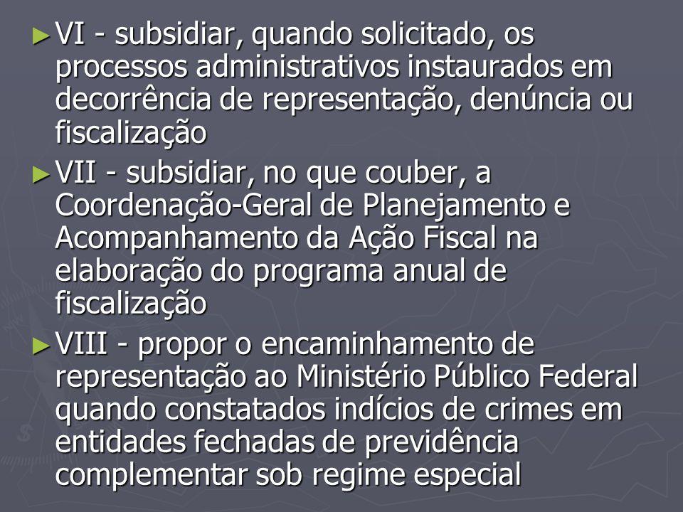 ► VI - subsidiar, quando solicitado, os processos administrativos instaurados em decorrência de representação, denúncia ou fiscalização ► VII - subsid