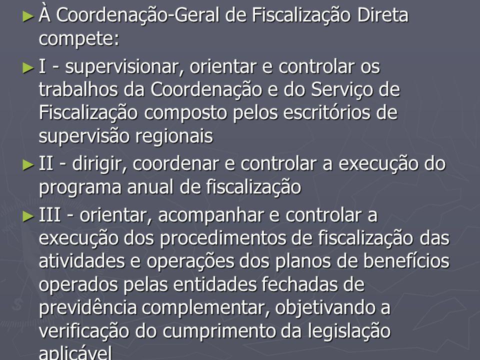 ► À Coordenação-Geral de Fiscalização Direta compete: ► I - supervisionar, orientar e controlar os trabalhos da Coordenação e do Serviço de Fiscalizaç