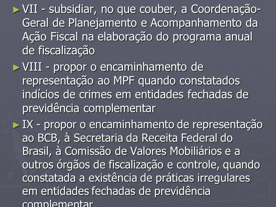 ► VII - subsidiar, no que couber, a Coordenação- Geral de Planejamento e Acompanhamento da Ação Fiscal na elaboração do programa anual de fiscalização