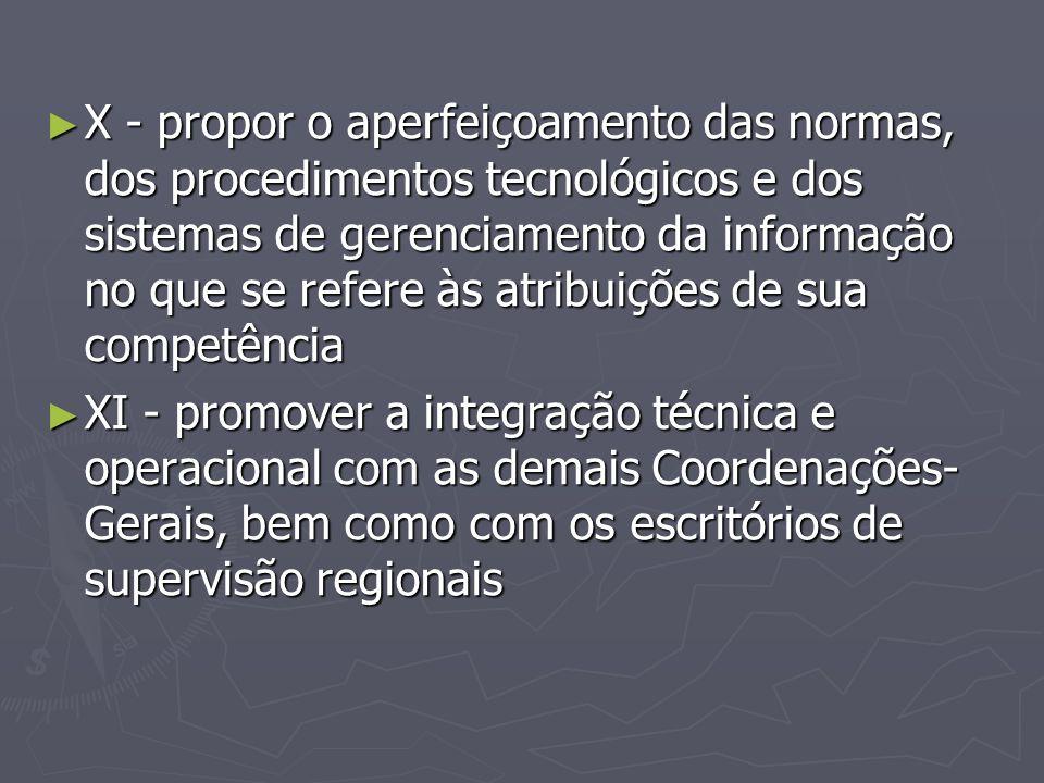 ► X - propor o aperfeiçoamento das normas, dos procedimentos tecnológicos e dos sistemas de gerenciamento da informação no que se refere às atribuiçõe