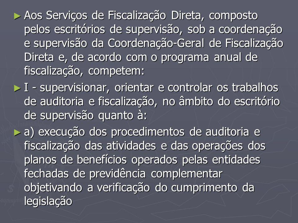 ► Aos Serviços de Fiscalização Direta, composto pelos escritórios de supervisão, sob a coordenação e supervisão da Coordenação-Geral de Fiscalização D