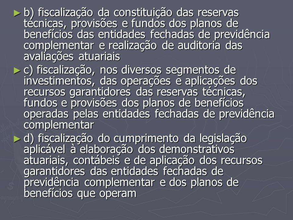 ► b) fiscalização da constituição das reservas técnicas, provisões e fundos dos planos de benefícios das entidades fechadas de previdência complementa