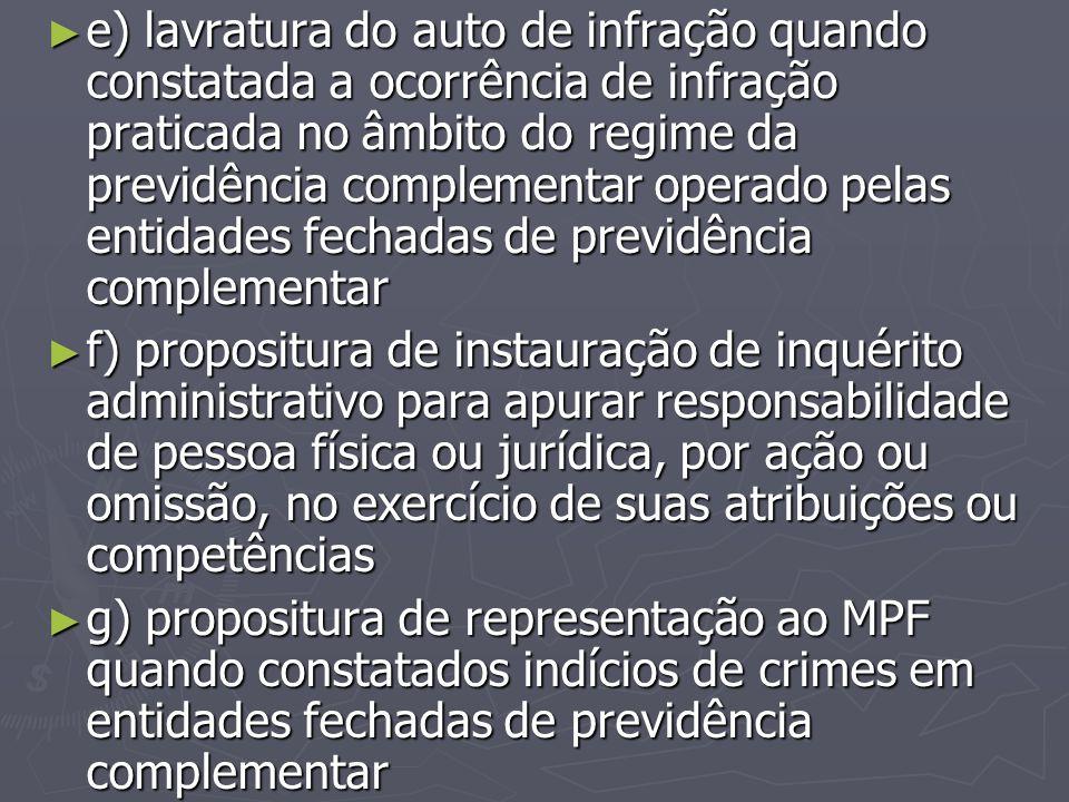 ► e) lavratura do auto de infração quando constatada a ocorrência de infração praticada no âmbito do regime da previdência complementar operado pelas