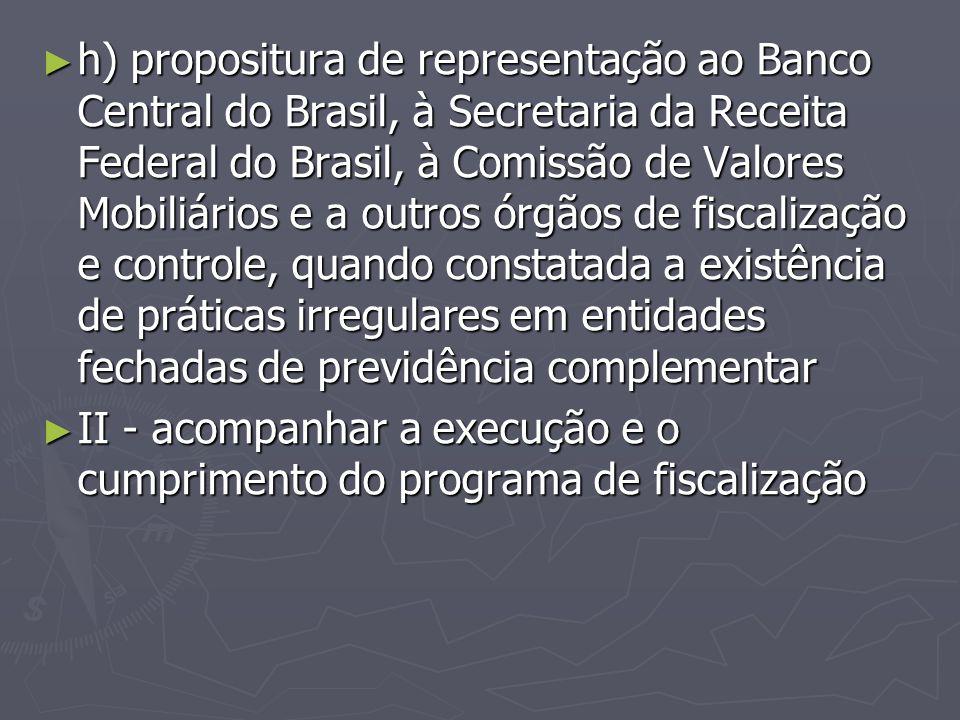 ► h) propositura de representação ao Banco Central do Brasil, à Secretaria da Receita Federal do Brasil, à Comissão de Valores Mobiliários e a outros